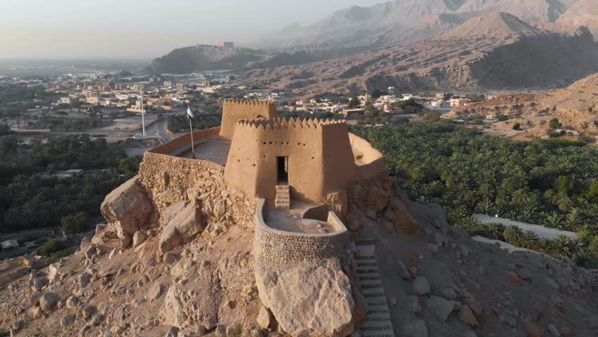 Dhayah Fort in North Ras Khaimah emirate in UAE aerial footage