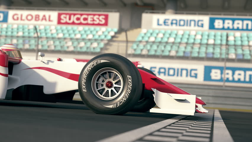 Side view of a generic formula one race car driving across the finish line in slow motion - close-up front wheel - realistic high quality 3d animation