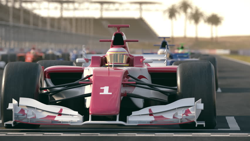 Camera slowly pans to a generic red formula one race car at pole position - realistic high quality 3d animation