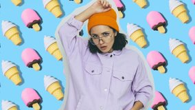 Fashion animation design. Dancing funny girl in yellow beanie hat on ice cream background. Sweet dessert