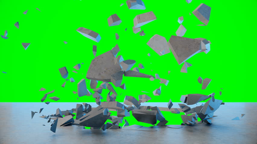 Cracked earth abstract background. Explosion destroys the wall, broken concrete wall. Wall fly to pieces. Hole in wall. Mock-up for your design project. 4K 3D animation on a green background | Shutterstock HD Video #1029412253