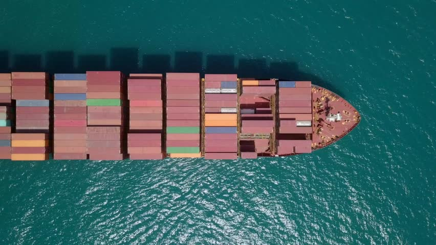 Top down aerial footage above a large Container ship. #1029420065
