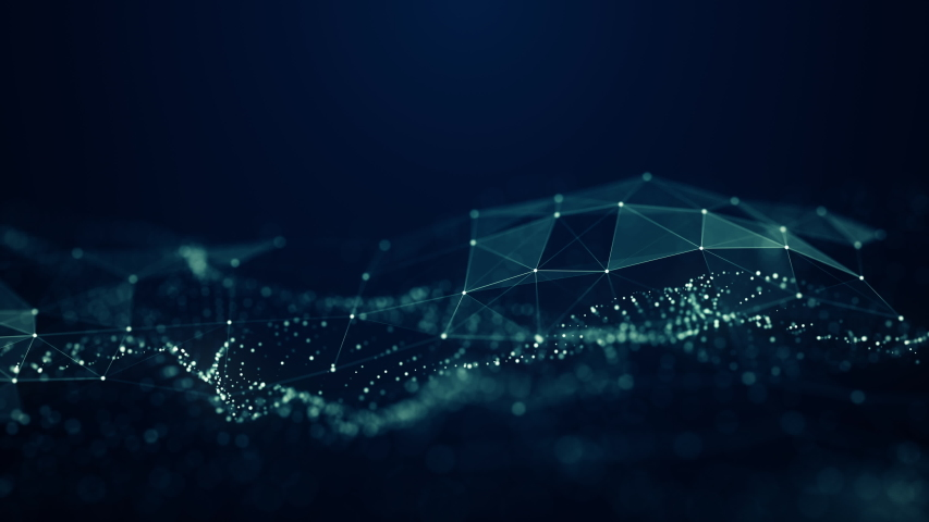 Abstract Plexus Digital Blue Color Wave Triangulation Shapes on digital blue color wave with flowing small particles dance motion on wave and light abstract background. Cyber or technology background.   Shutterstock HD Video #1029432617