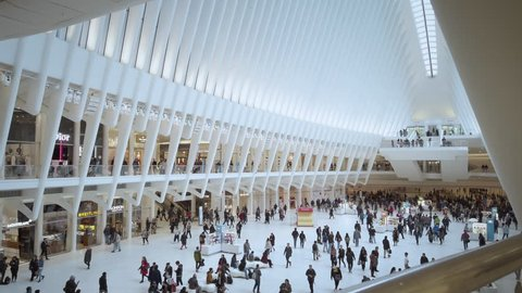New York, NY / USA - May 13, 2019: The Oculus. A New York City Lower Manhattan Landmark designed by architect Santiago Calatrava. This transport hub serves the new World Trade Center.