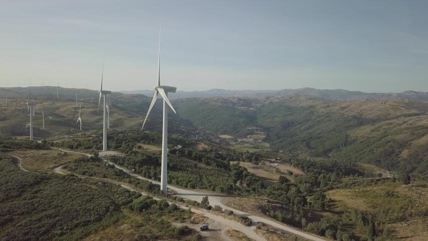 Fafe, Portugal / Portugal - 08 28 2018: Wind turbine aerial footage. #1029468107