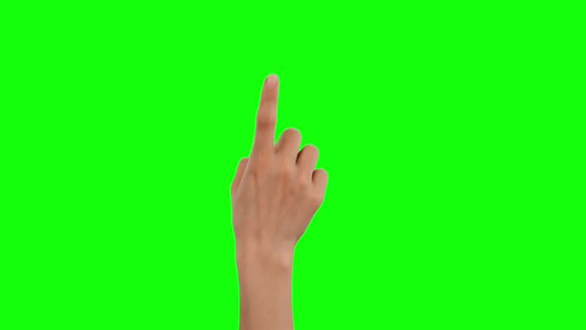 Hand touching, clicking, tapping, sliding, dragging and swiping on chroma key green background, like using a smartphone, tablet pc or a touchscreen.