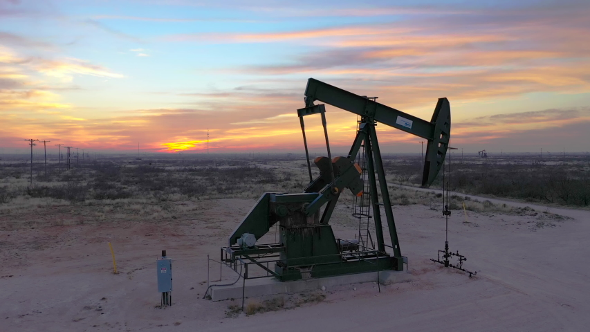 Orbiting a West Texas Pumpjack at Sunset
