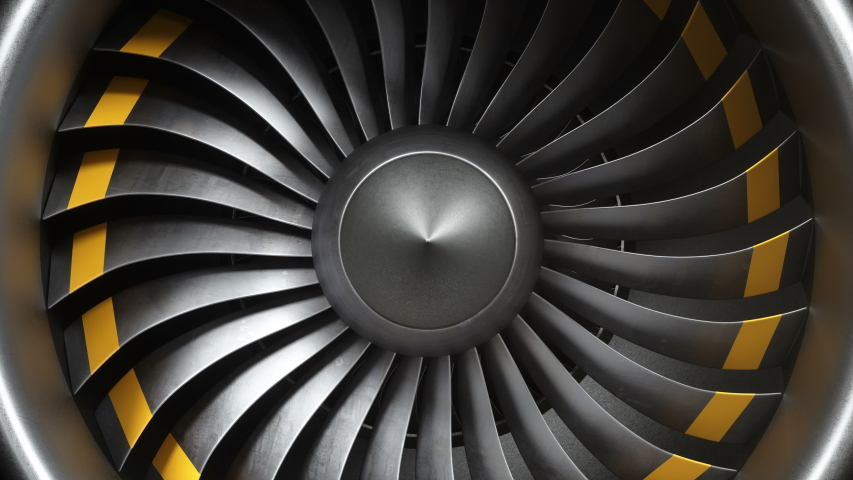 Animation jet engine, close-up view jet engine blades. Front view of a jet engine and blades. Animation of rotating blades of the turbojet. Part of the airplane. Loop-able, seamless 4k animation Royalty-Free Stock Footage #1029479927