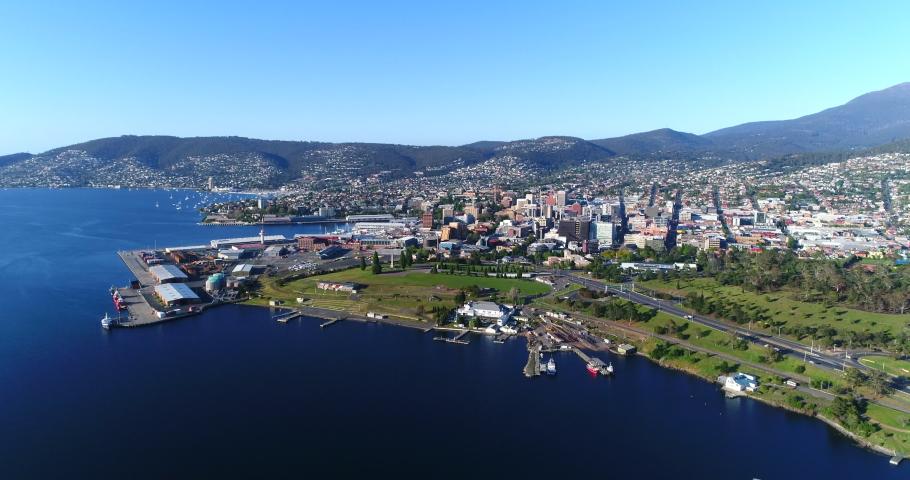 Aerial drone shot of Hobart in Tasmania, Australia.