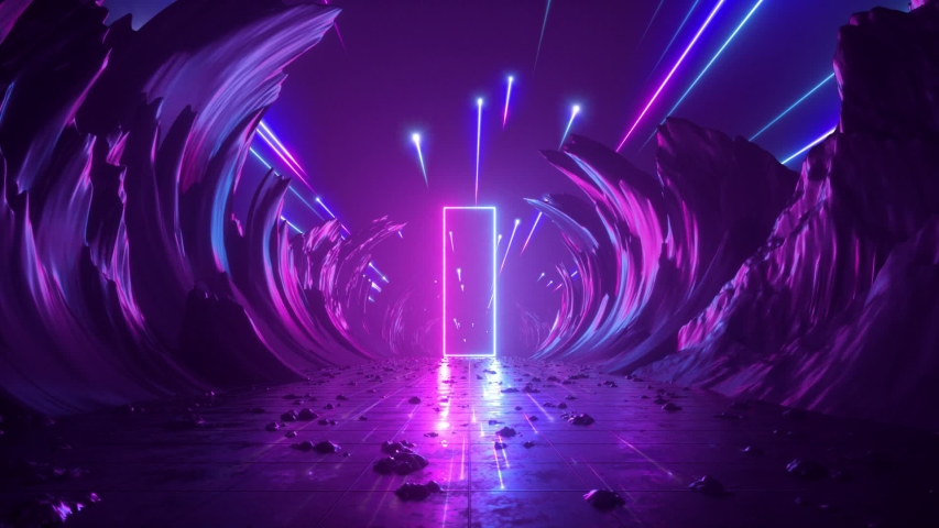 3d abstract background, neon light, cosmic landscape, meteor shower, falling stars, flight forward through corridor of rocks, virtual reality, outer space, celestial panorama, extraterrestrial anomaly | Shutterstock HD Video #1029496121