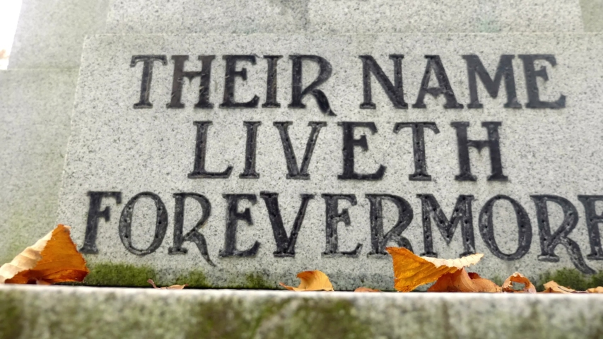 Cenotaph engraving honouring fallen soldiers on Rememberance day   Shutterstock HD Video #1029503873