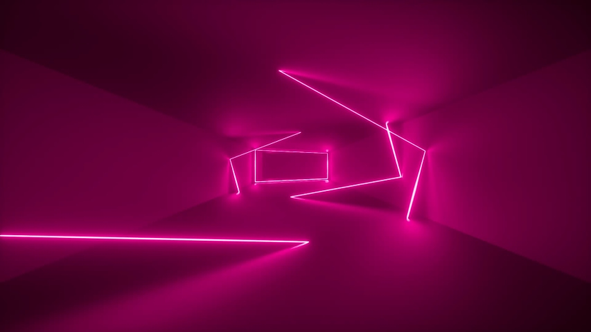 flight through endless corridor, pink neon light, glowing lines, frames, abstract neon background, virtual reality interface, moving inside tunnel #1029528041