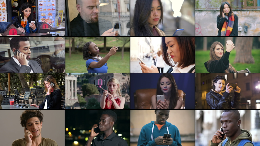 Multiscreen on different young people using smartphones in everyday life | Shutterstock HD Video #1029533738
