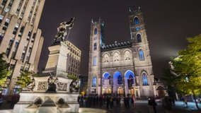 Hyperlapse video of Montreal city near the Notre Dame Cathedral by night