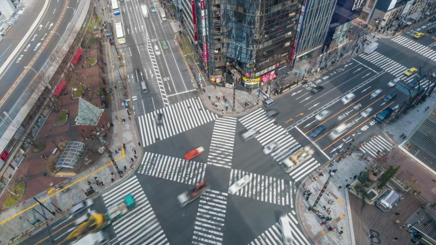 Tokyo, Japan - Mar 19, 2019: 4k timelapse video of busy crosswalk in Tokyo #1029552824