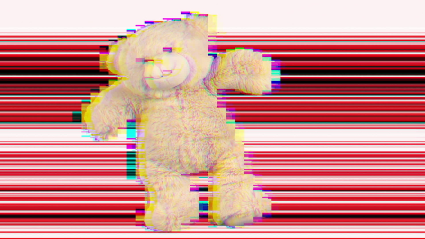 Amazing funky teddy bear brought to life dancing with overlayed glitch and distortion   Shutterstock HD Video #1029567959