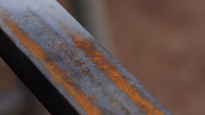Rusty texture on metal steel rod. | Shutterstock HD Video #1029591941