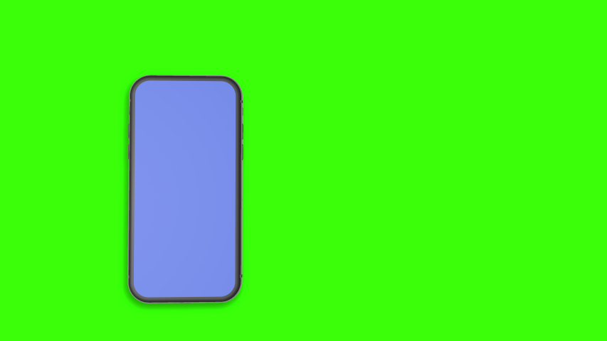 3d Smartphone motion showing design with blue on screen and green screen background for color matte.Black Phone Blank blue Screen.Smart Phone Isolated on green Background