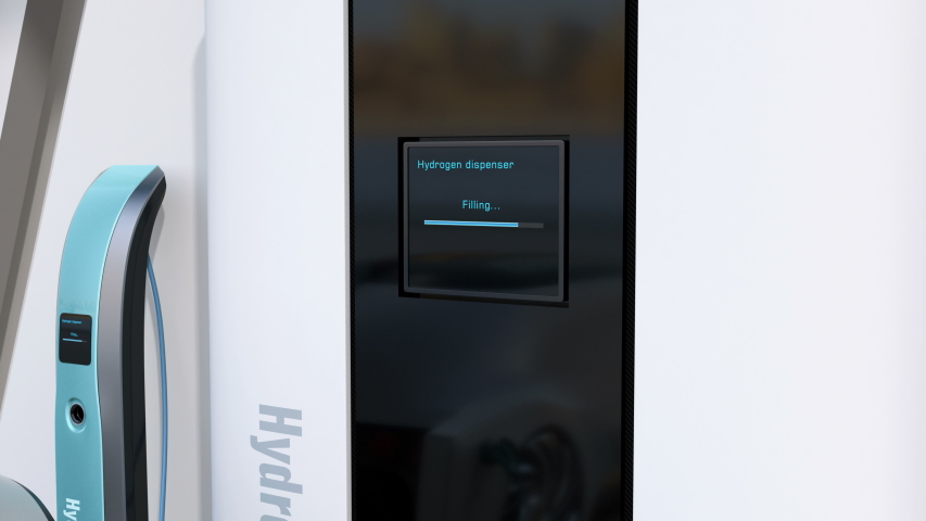 Fuel Cell powered autonomous car filling gas in Fuel Cell Hydrogen Station. 3D rendering animation.