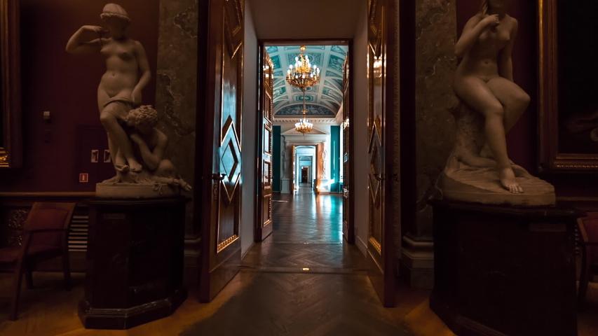 SAINT PETERSBURG, RUSSIA - FEB, 2017: Entrance of classic historic museum art gallery hall