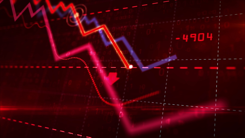 Stock markets down dynamic chart on dynamic red background. Concept of financial stagnation, recession, crisis, business crash and economic collapse. Downward trend 3d animation.