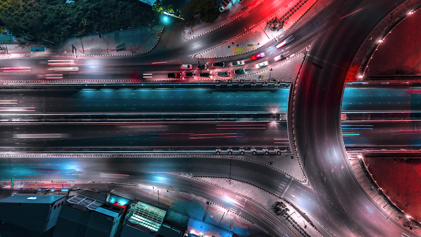 4K,Time lapse night  traffic of the road or expressway, motorway and highway in the detail of Circle intersection  #1029643790
