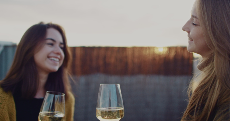 Two young beautiful girls drinking white wine with a city view during sunset. Slow Motion. Shot on RED digital cinema camera   Shutterstock HD Video #1029670784