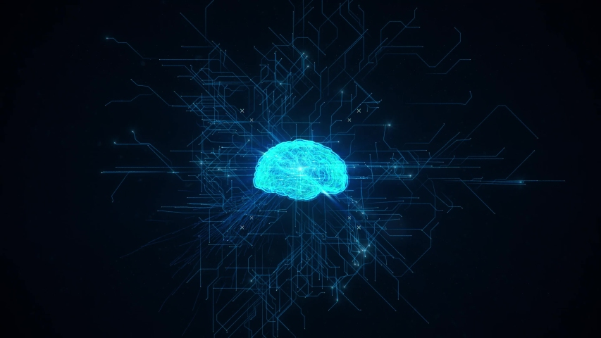 AI Creation Artificial intelligence brain comes to life forming birth blue digital brain, self aware big data deep learning computer machine. Futuristic quantum computing abstract background