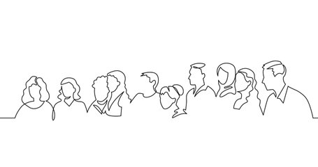 Self drawing animation of group of people. Family, friends hand drawn characters. One line drawing crowd standing at concert, meeting. Women and men waiting in queue.