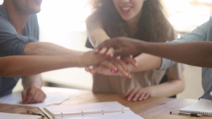 Multicultural happy team of business people students stack hands in pile together as teamwork and help, multi ethnic friendship concept, support in group work, unity trust cooperation, close up view Royalty-Free Stock Footage #1029713939