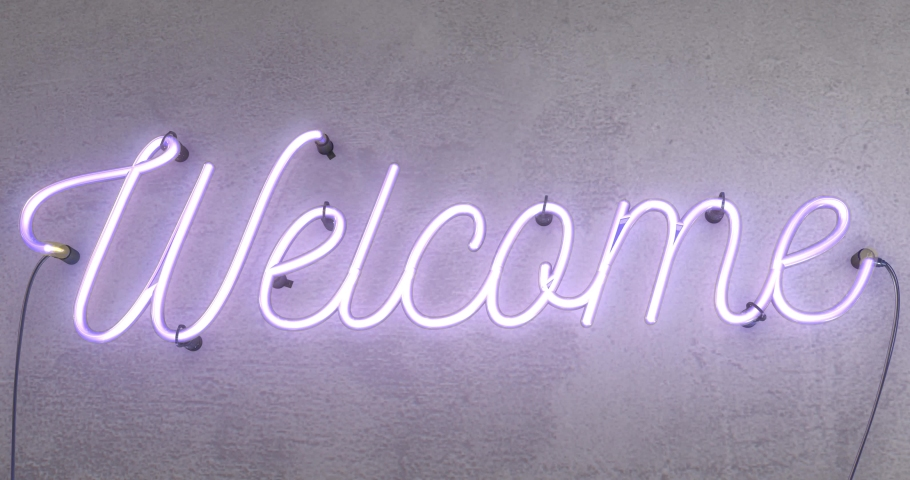 Neon sign spelling the word Welcome this realistic sign starts when the sign is off then it turns on with amazing flashing flickering effects, then it flashes on and off and can be looped.