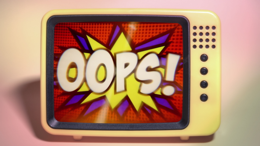 A transmission viewed on a fancy TV screen: a comic strip cartoon animation, with the word Oops appearing; green and halftone background, star shape effect.