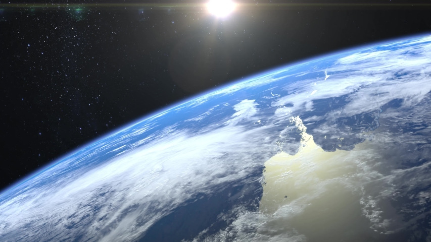 Earth from space. The camera rotates and flies away from the Earth. Stars twinkle. 4K. Sunrise. Realistic atmosphere. 3D Volumetric clouds. The sun is in the frame. | Shutterstock HD Video #1029786764
