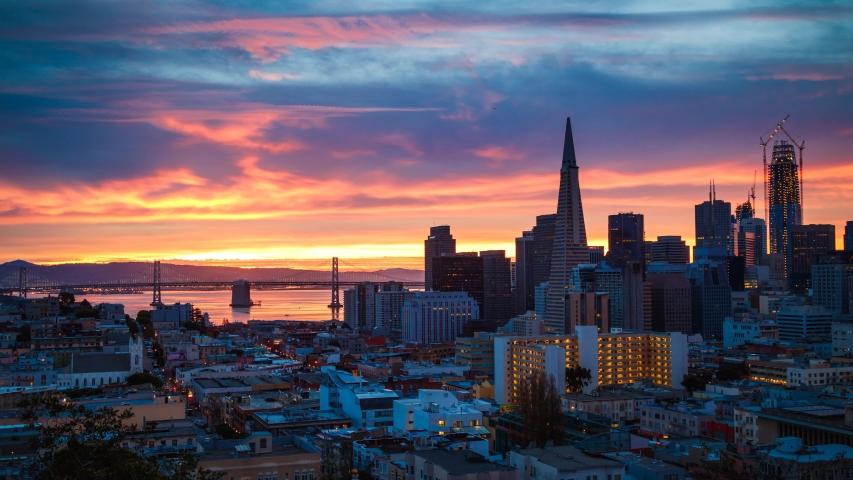 San Francisco Skyline Time-lapse at Sunrise, California, USA