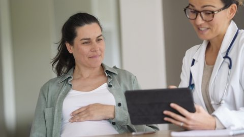 Pregnant woman at doctor's office
