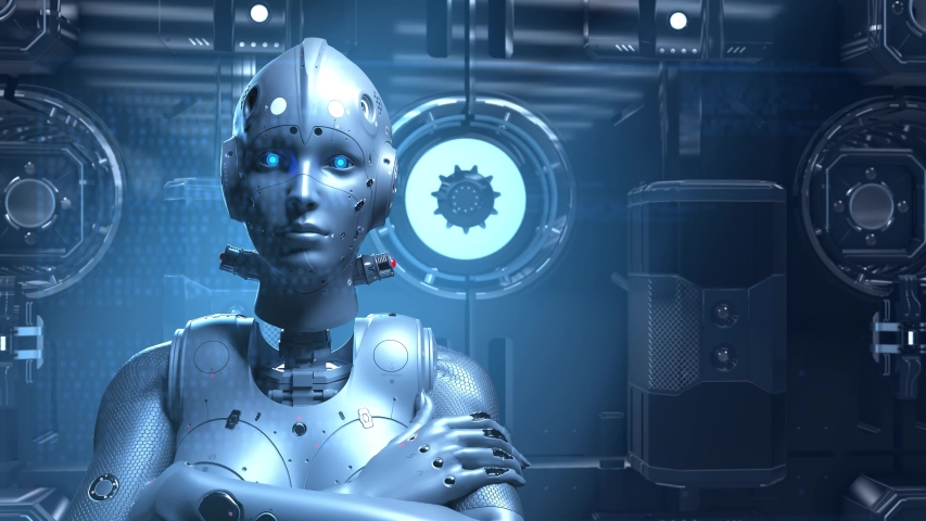 Sci-fi woman robot , learning digital information encrypt decrypt the digital world of the future of neural networks and the artificial intelligence future technologies | Shutterstock HD Video #1029860861
