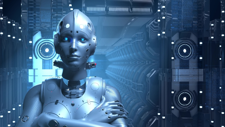 Sci-fi woman robot , learning digital information encrypt decrypt the digital world of the future of neural networks and the artificial intelligence future technologies | Shutterstock HD Video #1029860870
