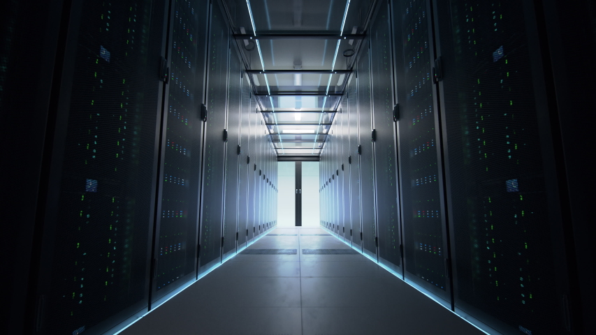 Camera slowly moving along the narrow corridor in data center with server equipment on both sides, the lights gradually turning off until total darkness. Photorealistic 3D render animation.