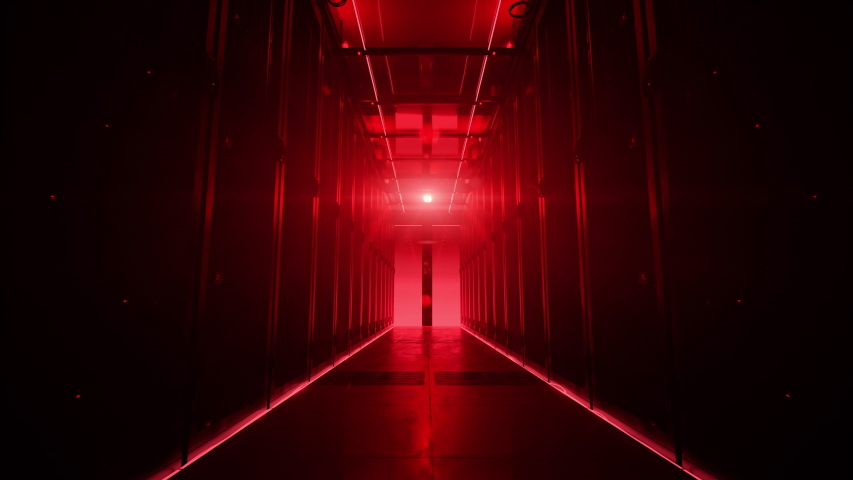 Camera moving along the corridor in data center with server equipment, the lights turning off until total darkness, then red light suddenly lights up in danger. Photorealistic 3D render animation. Royalty-Free Stock Footage #1029880739