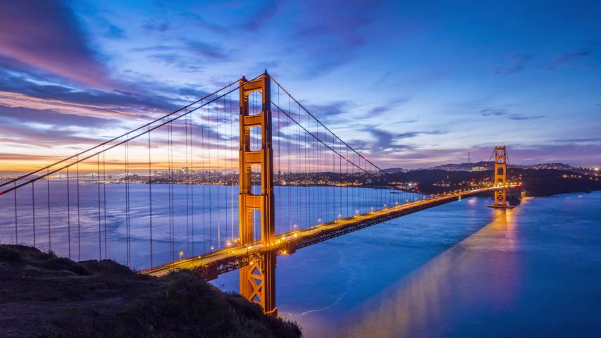 Iconic San Francisco Golden Gate Bridge 4K UHD Panoramic Sunrise Video Time Lapse