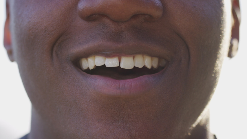 Close up of man's mouth talking directly to camera  Royalty-Free Stock Footage #1029942368