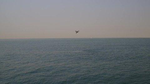 Dubai,United Arab Emirates - 09-19-2017 Drone video flying above the sea.