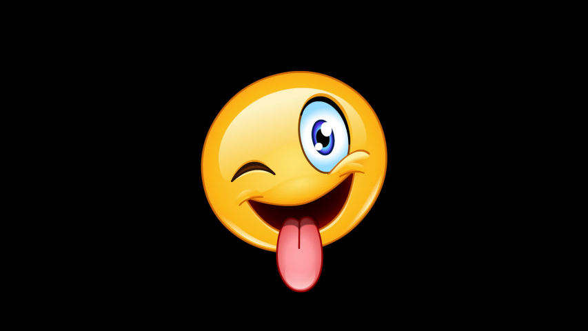 Animation of emoji emoticon with stuck out tongue and winking eye including alpha channel | Shutterstock HD Video #1029944933