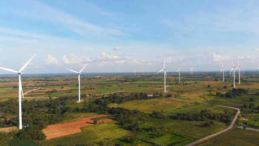 4K Drone shot aerial view scenic of wind turbine for electric generation eco and clean power  | Shutterstock HD Video #1029960935