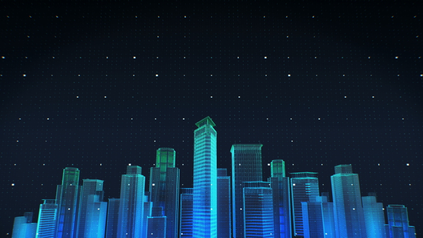 Construction technology. building city skyline and make smart city. night view. 4k animation. #1029964676