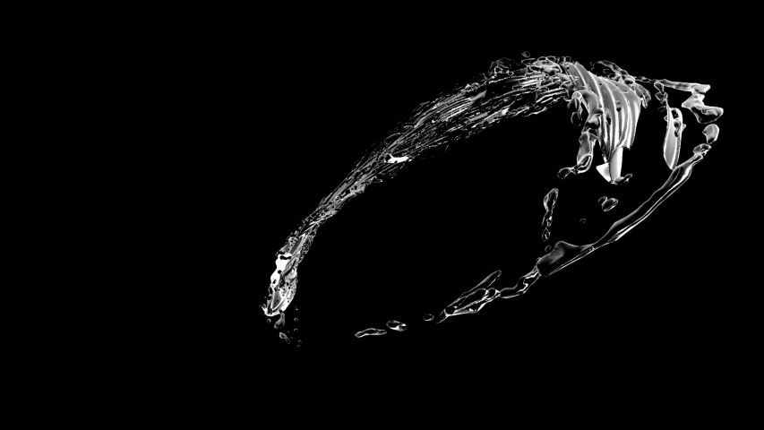 Water flowing and forming the circle  on black background Cg animation in 4K. Slow motion. Water flowing isolated with alpha mask. Water swirling and splashing seamless loop with alpha matte.