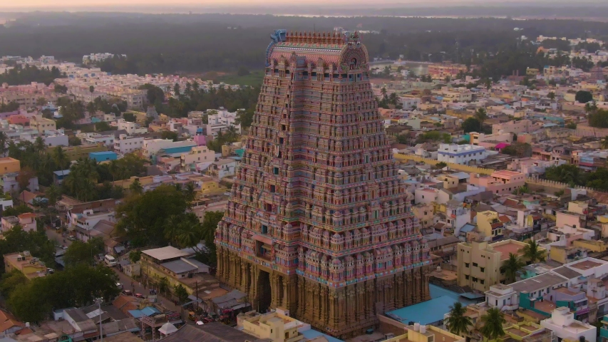"South India ""Gopuram"" at Srirangam Trichi, India, 4k aerial"