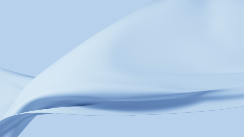Beautiful Blue Silky Cloth Waving in the Wind Seamless. Looped 3d Animation of Abstract Soft Textile Slow Moving in the Air. 4k Ultra HD 3840x2160.