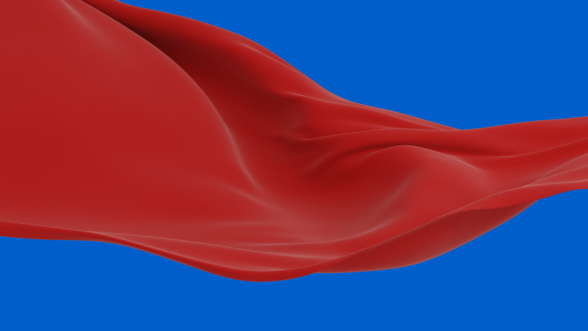Beautiful Red Silky Cloth Waving in the Wind Seamless Alpha Mask. Looped 3d Animation of Abstract Fabric Slow Moving in the Air. Green Screen. 4k Ultra HD 3840x2160.