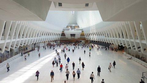 MAY 22, 2019, Interior of Oculus Building, .main hall of the new Oculus, the World Trade Center Transportation Hub, Lower Manhattan, New York City, USA.